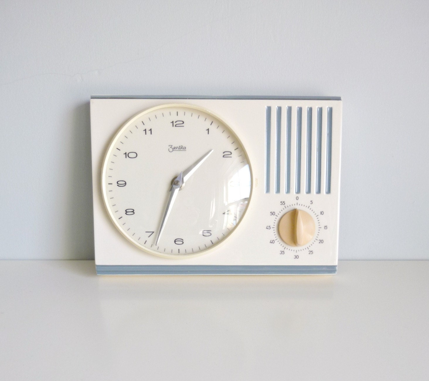 Mid Century 1960s Kitchen Wall Clock & Timer - Off-white / Blue - ZentRa, Germany - Mad Men, Home, Kitchen, Cooking, Chef, Eames Panton Era - mungoandmidge
