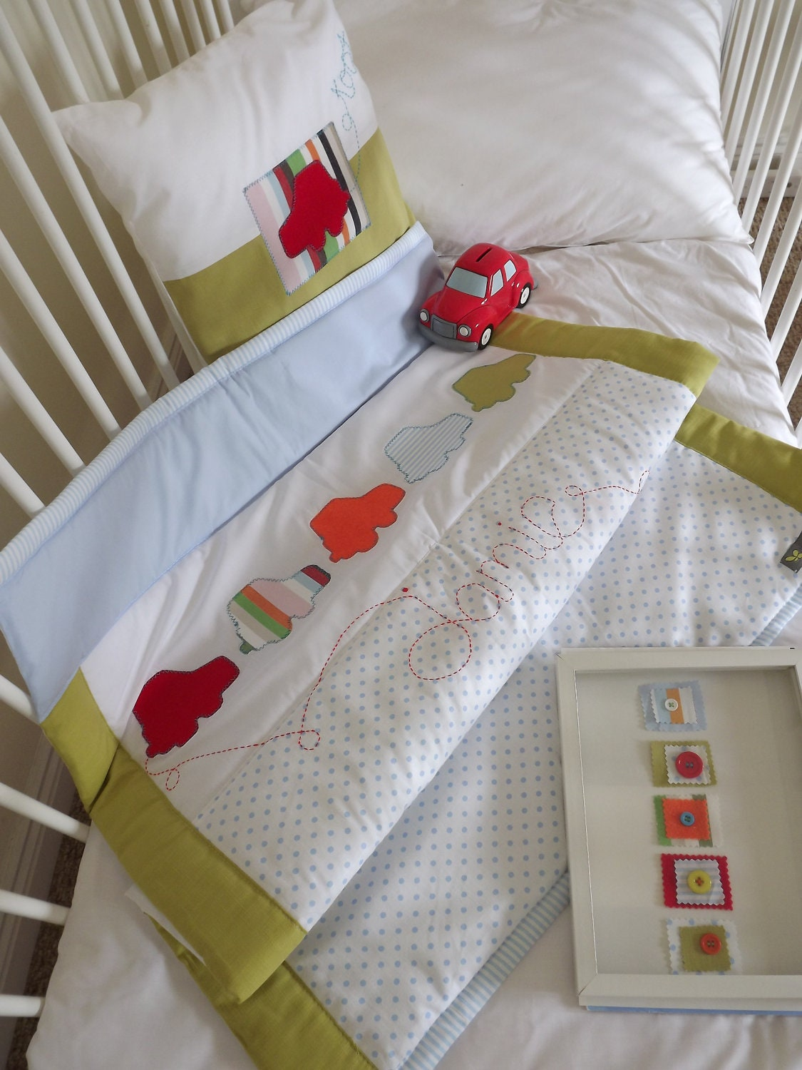 Boys cot quilt and cushion set. Little car 'Toot' Design.