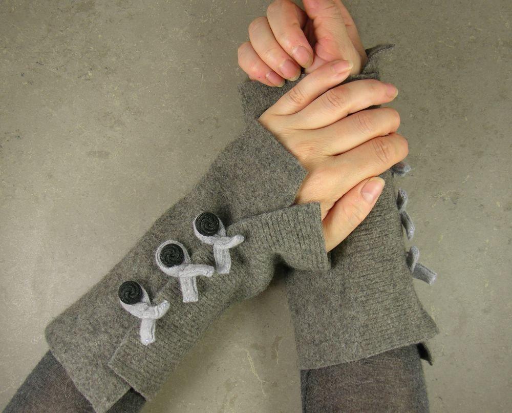Без пальцев руки варежки подогреватели без пальцев руки перчатки, манжеты в ярь-медянки экологически чистом переработанной шерсти
