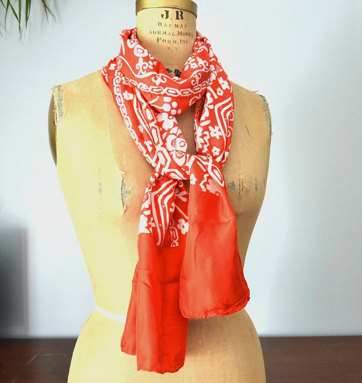 vintage valentine silk scarf floral  designer Francoise Guerin Vintage Silk Scarves