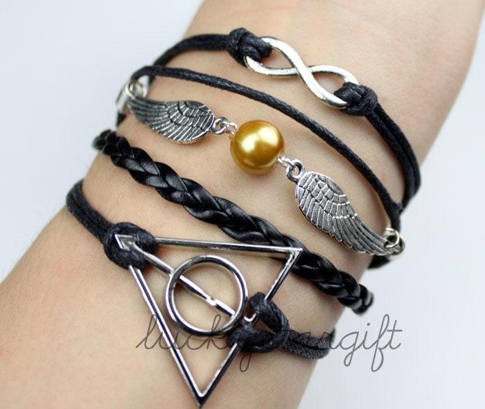 silvery harry potter bracelet harry potter snitch infinity karma bracelet wish bracelet best choose gift -Q065
