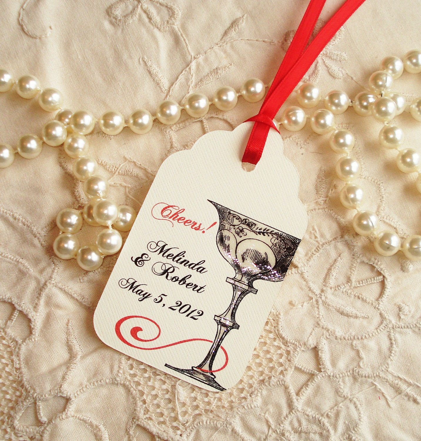 Cheers Champagne Personalized Wishing Tree Tag Tags Wedding Anniversary Bridal Shower Bachelorette Party Customized Name Date Color 003