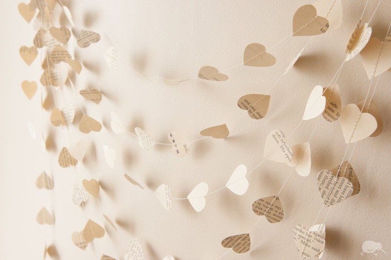 Paper Heart Garland, Valentine decoration, Recycled Wedding decoration, 20ft / 6m, Vintage, Custom