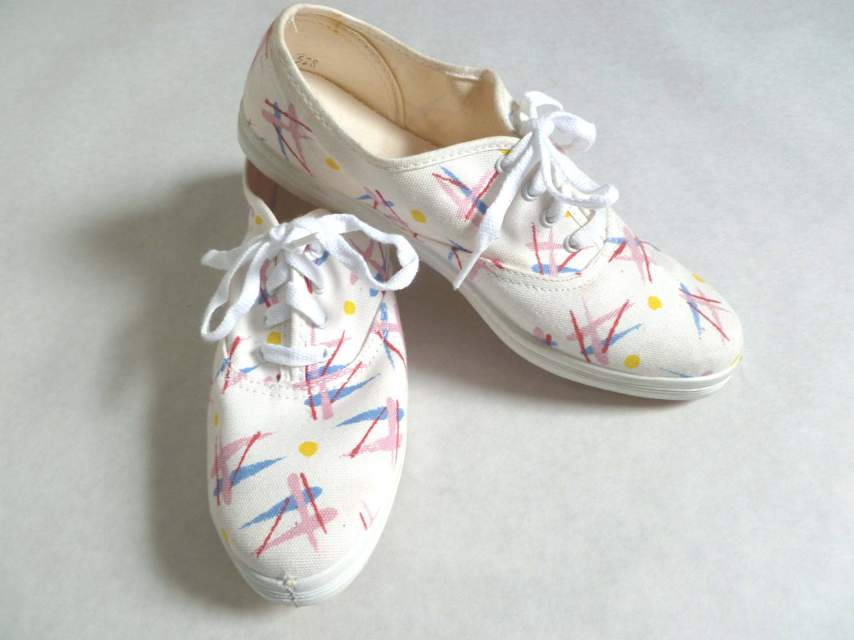 Vintage 80s 90s white SPLATTER Sneakers Like Keds - BuddyBuddyVintage