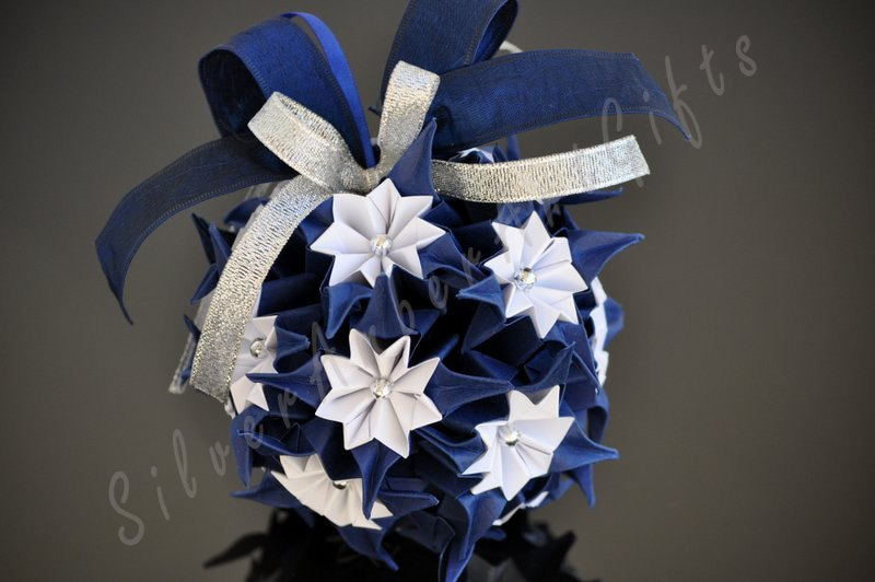 Origami Kusudama Ball - navy blue-white hanging ornament. Weeding or xmas decoration - AmberGlassArt