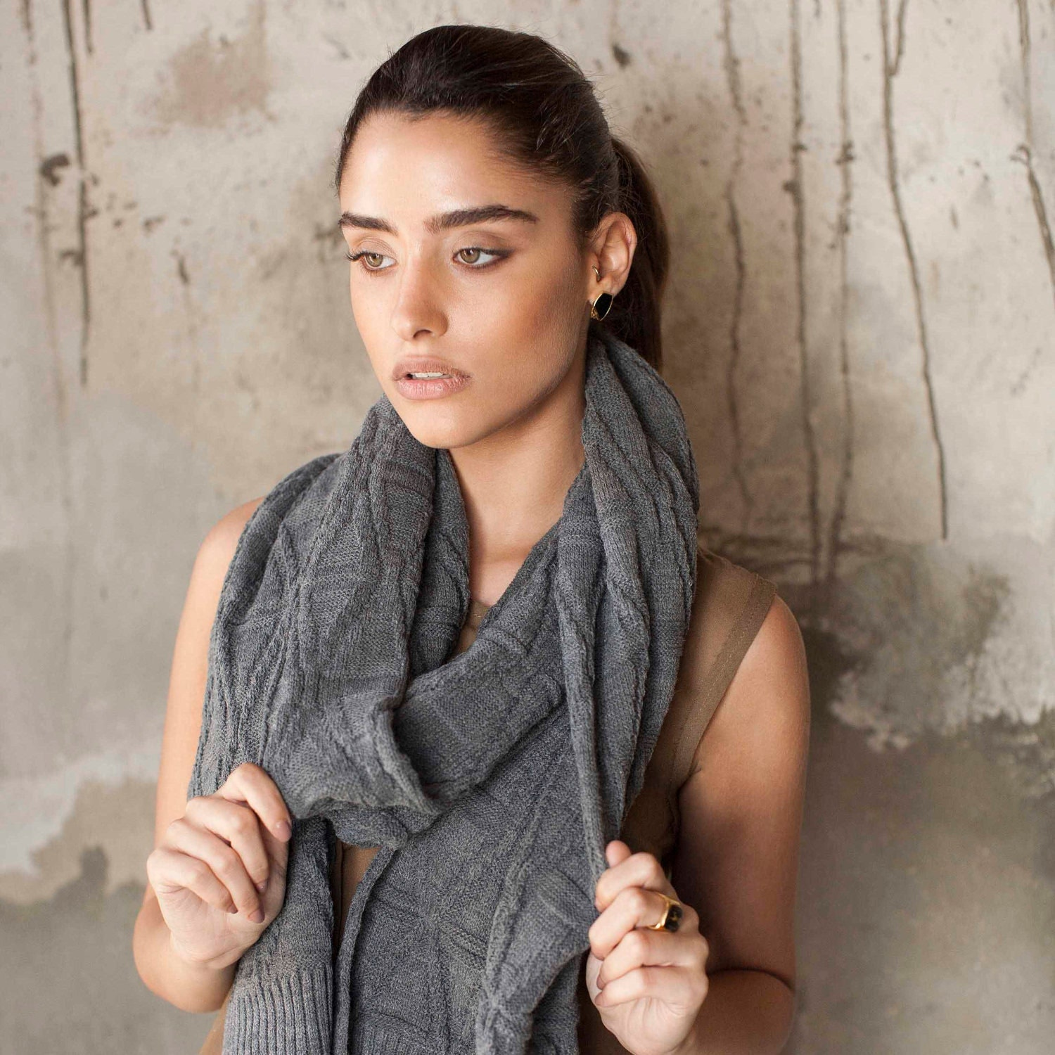 Women knitted grey scarf - summer fashion - AndyVeEirn