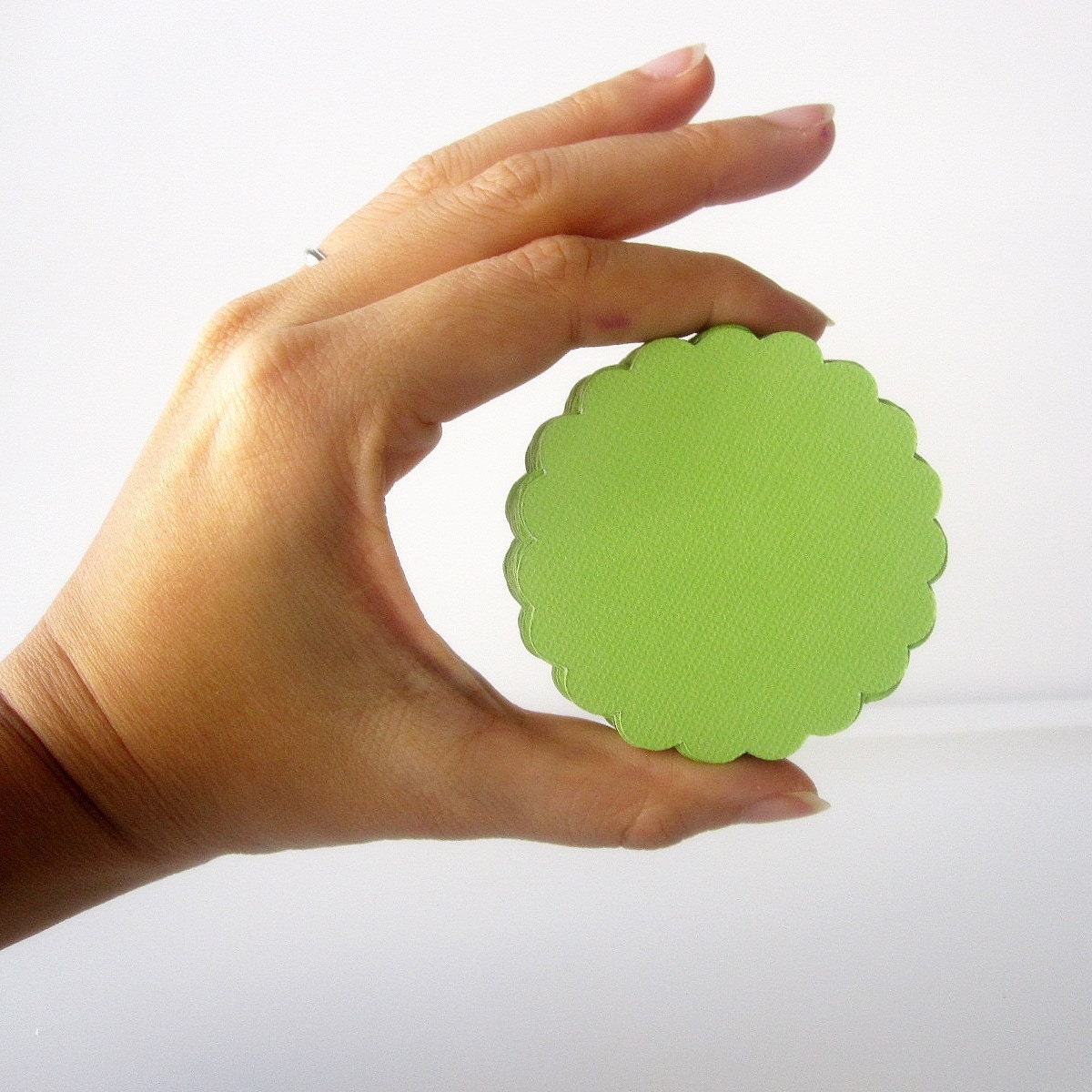 MOVING SALE 50 scalloped circles (2 inches) in Lime Green Paper Textured Cardstock Die Cut