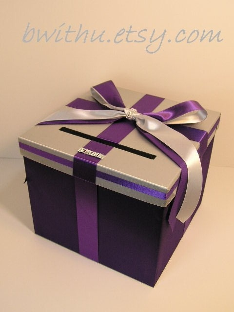 Silver n purple Wedding Card Box Gift Card Box HolderCustomize your color