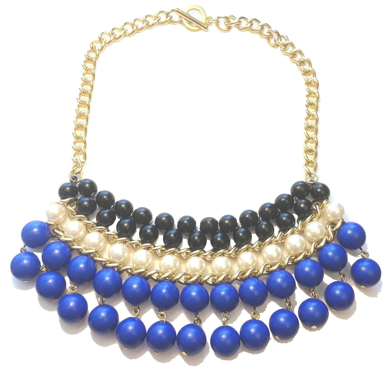 blue beaded bib necklace