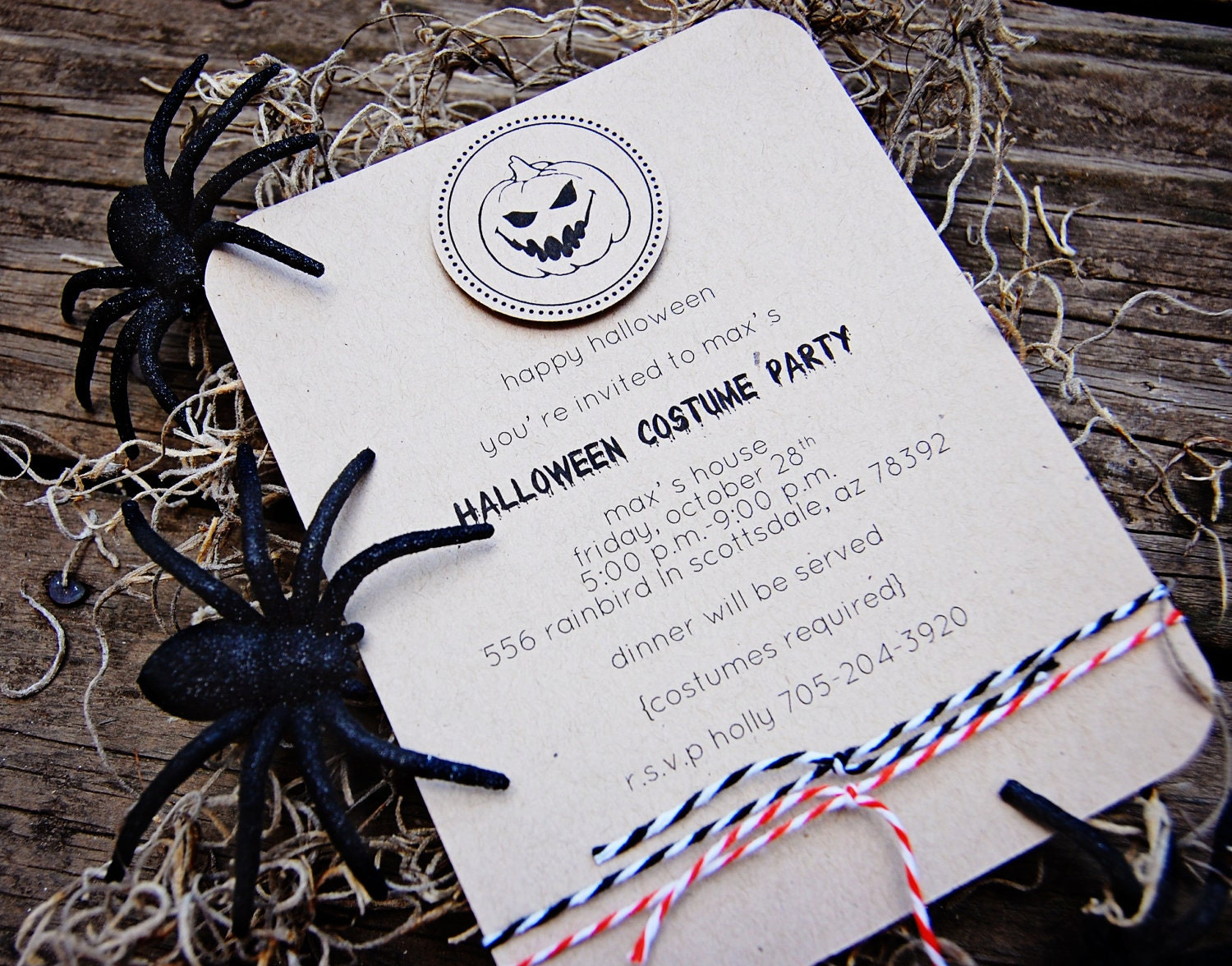 Halloween Party Invitations (Pumpkin) - printed on kraft card stock w/matching kraft envelopes (12)