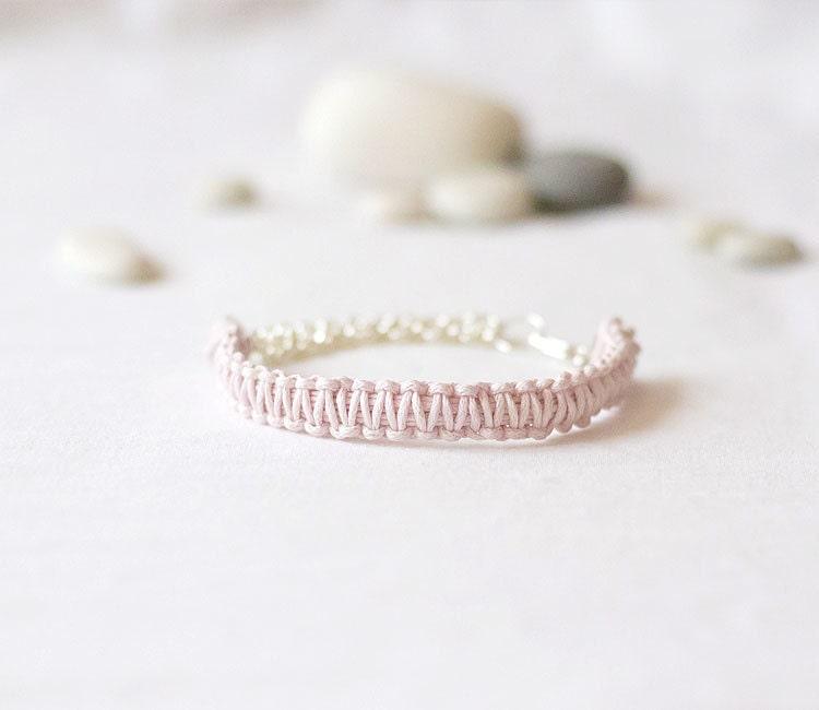 Mauve Rope Bracelet - silver rope bracelet,  braided bracelet, knot bracelet, pastel pink bracelet, everyday bracelet, cotton rope bracelet - GentleDecisions