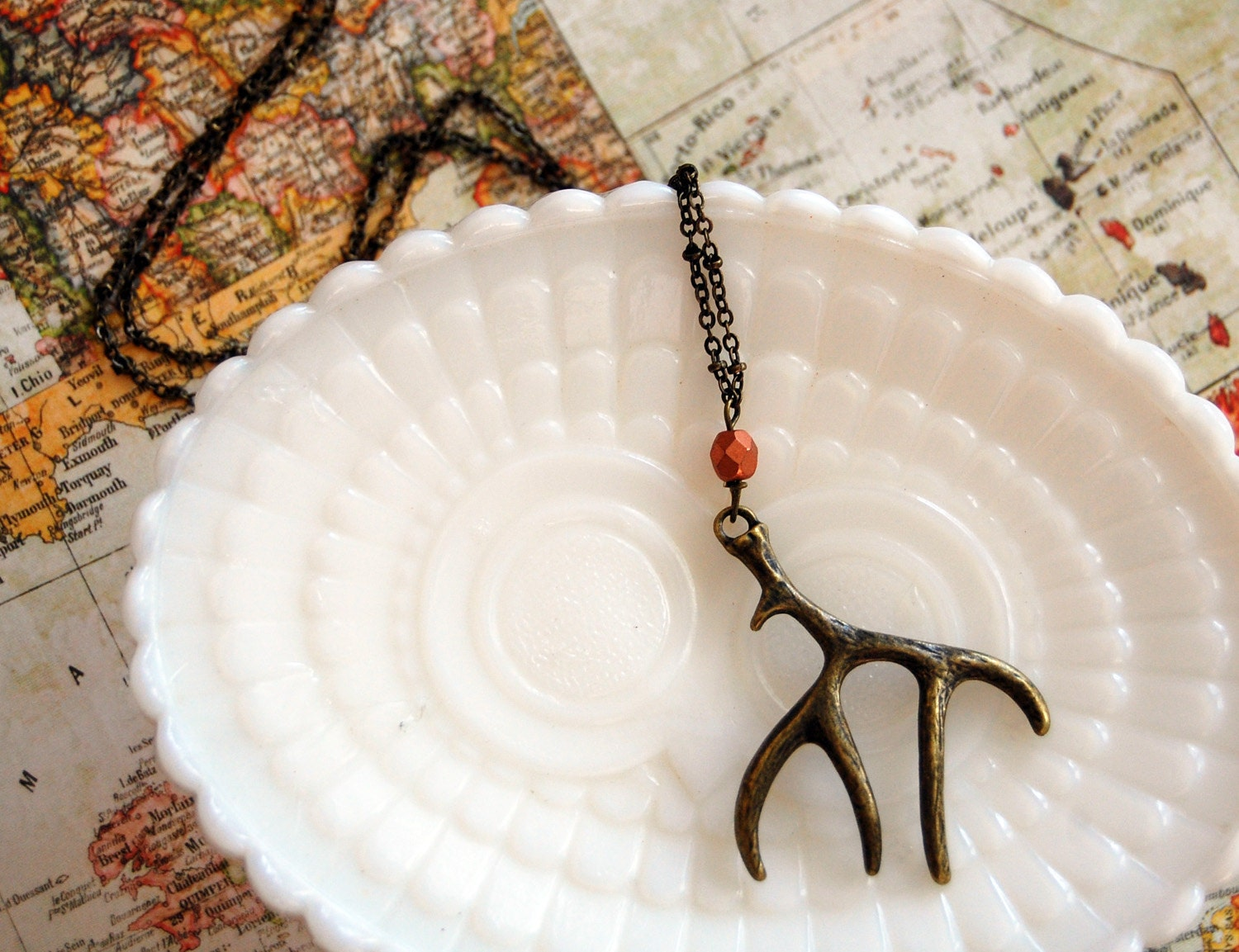 antler necklace- rustic autumn jewelry with copper colored bead on long chain- aged brass - Peapodtreasures