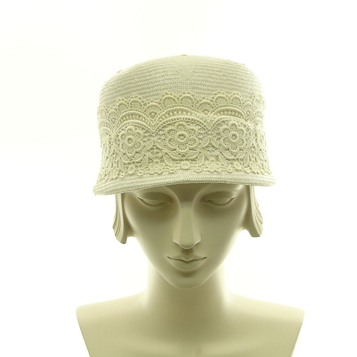 vintage fashion cloche hat for white by themillineryshop
