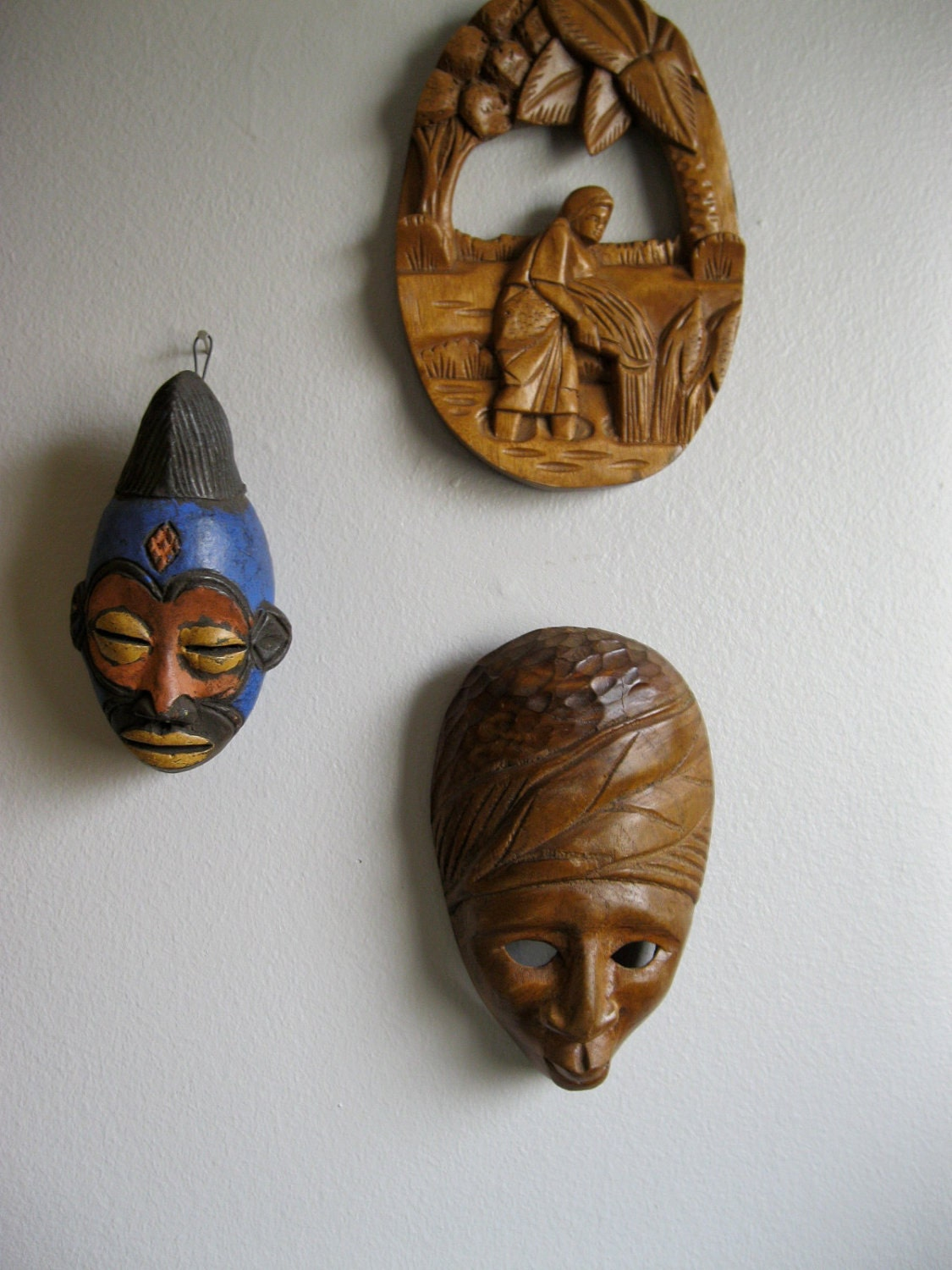African Masks Vintage A Pair Of Hand Carved Wooden Small