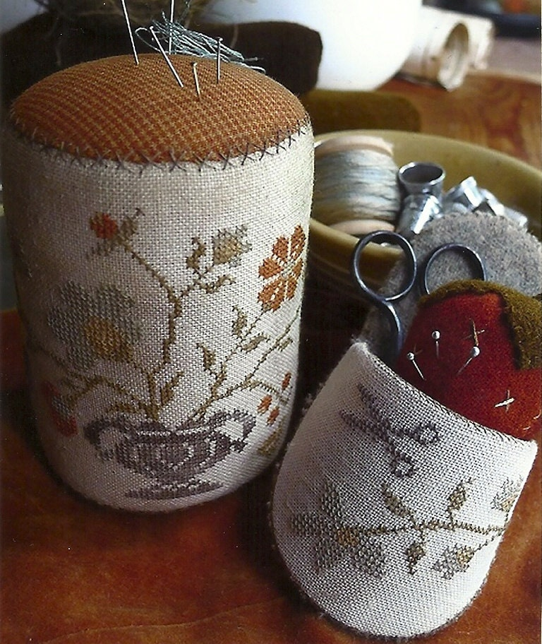 Primitive Folk Art Cross Stitch Pattern:  Pinkeep DRUM, SLIPPER & STRAWBERRY - Summer Gathering