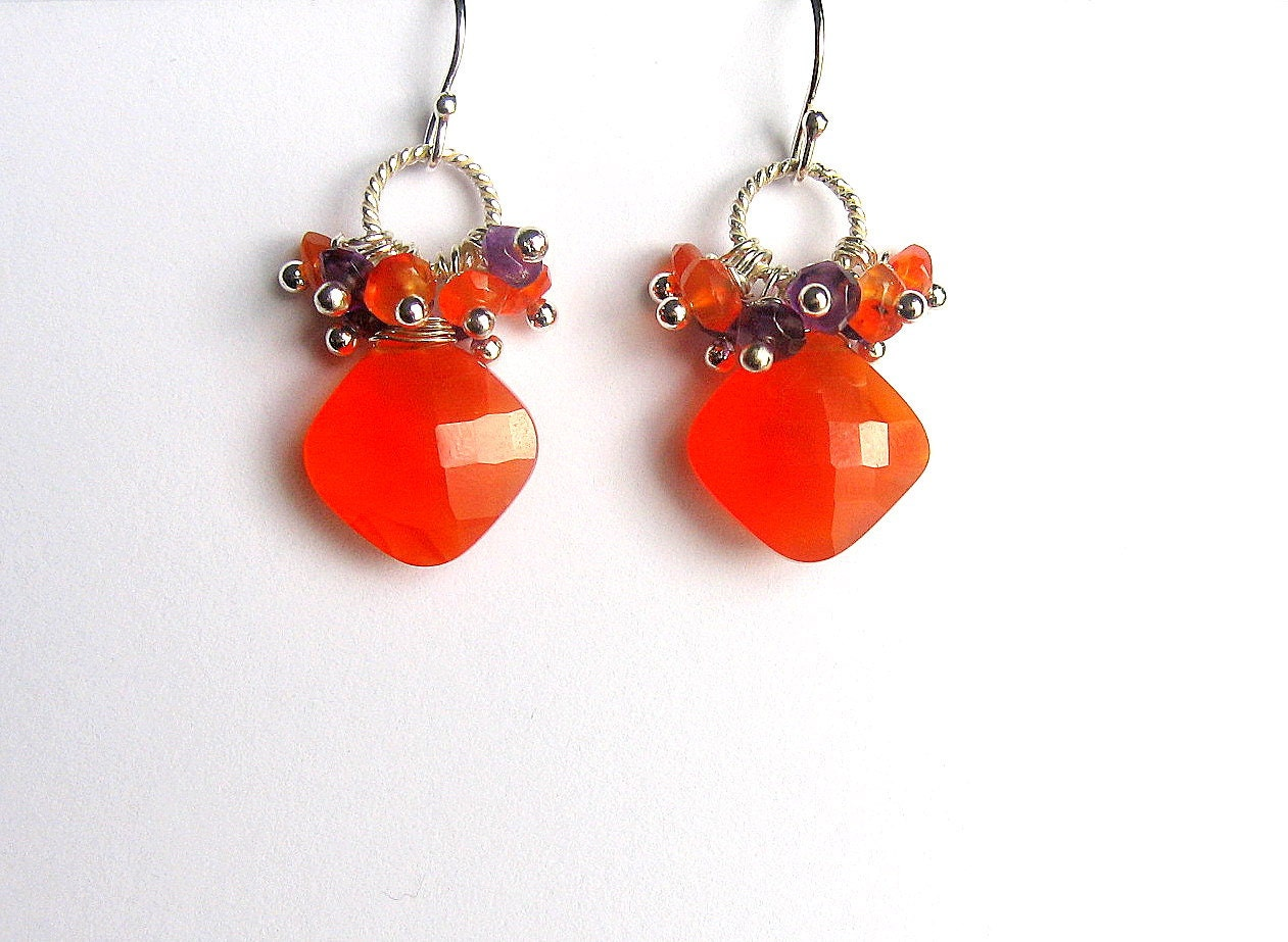 Carnelian Earrings, Orange Gemstone, Carnelian Amethyst Clusters, Sterling Silver