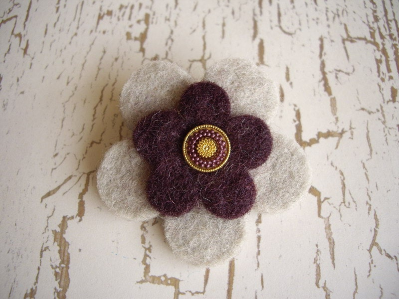 Felt Flower Brooch - Gray and Purple with Co-ordinating Button - SeasideRomance