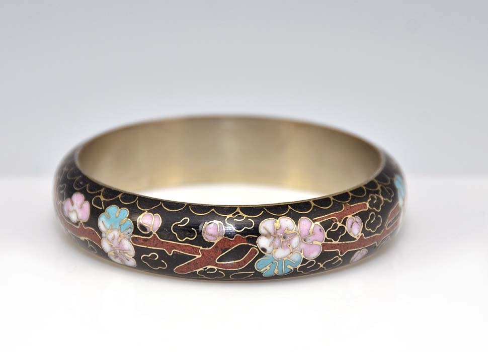 Cloisonne Bangle Cherry Blossoms Enamel Black Pink Blue Flowers Chinese Asian Oriental Sakura Vintage - 2448