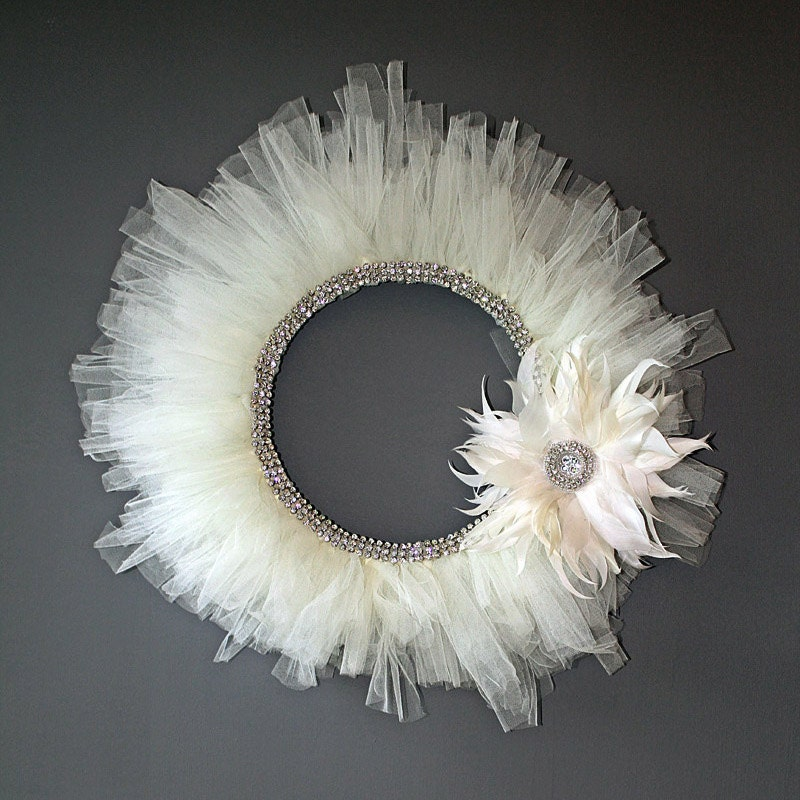 Rhinestone Tulle Wreath - Ivory with Feather Flower Accent