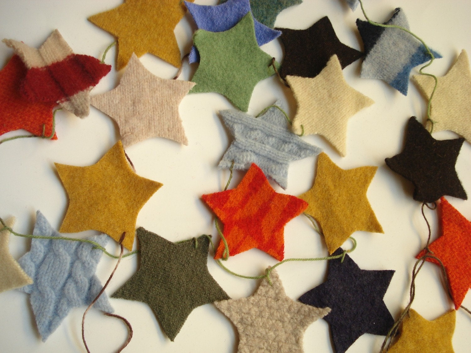 Shabby Chic Upcycled wool holiday garland, natural home decor - STARS