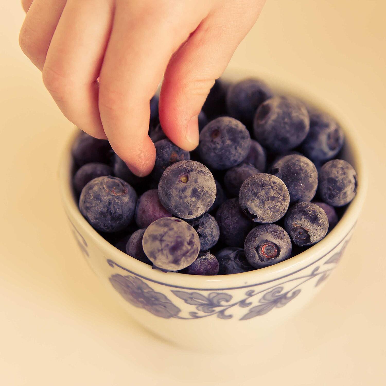 Kitchen Art Photograph, Sneaking a Snack, Blueberry, Fruit Art Print, FPOE, blue wall decor