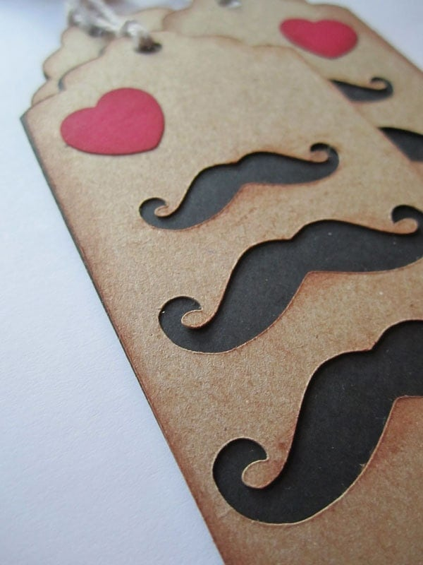 Mustache Hang Tag Gift Tag with Heart Steampunk TeamScrapbookNinjas PAFAteam
