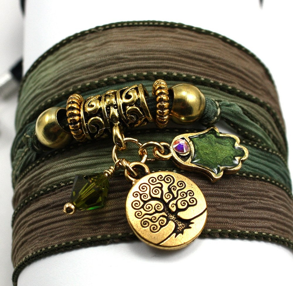 Silk Wrap Bracelet - Woodland Moss with Tree of Life, Enameled Hamsa and Olivine Swarovski Crystals