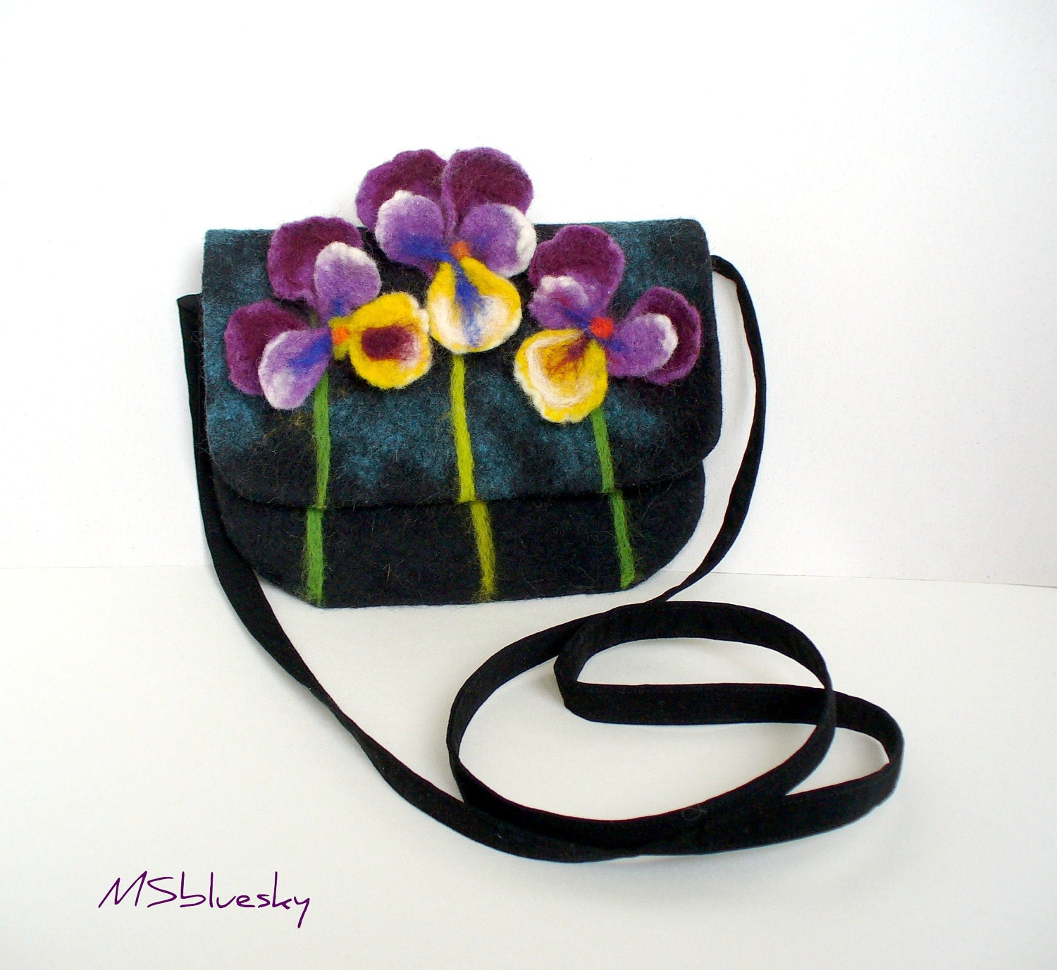 Wet Felted Pansy FLOWER  Clutch Purse  violets, handmade, OOAK,  Ready to Ship