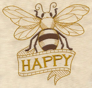 Bee Happy - Embroidered Decorative Linen Towel or Absorbent Solid White Cotton Flour Sack Towel - EmbroideredbySue