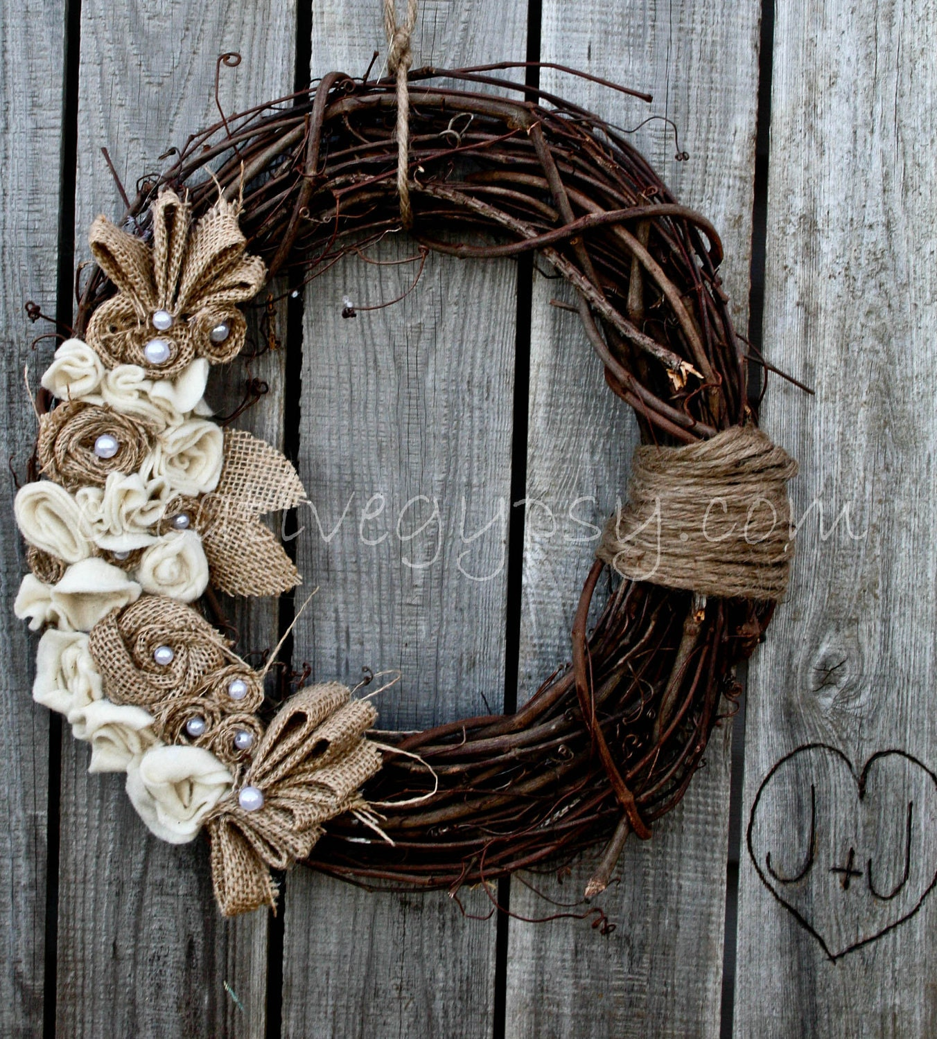 Limited Offer Rustic Burlap, Ivory and Jute Wreath LOVE - TheCreativeGypsy