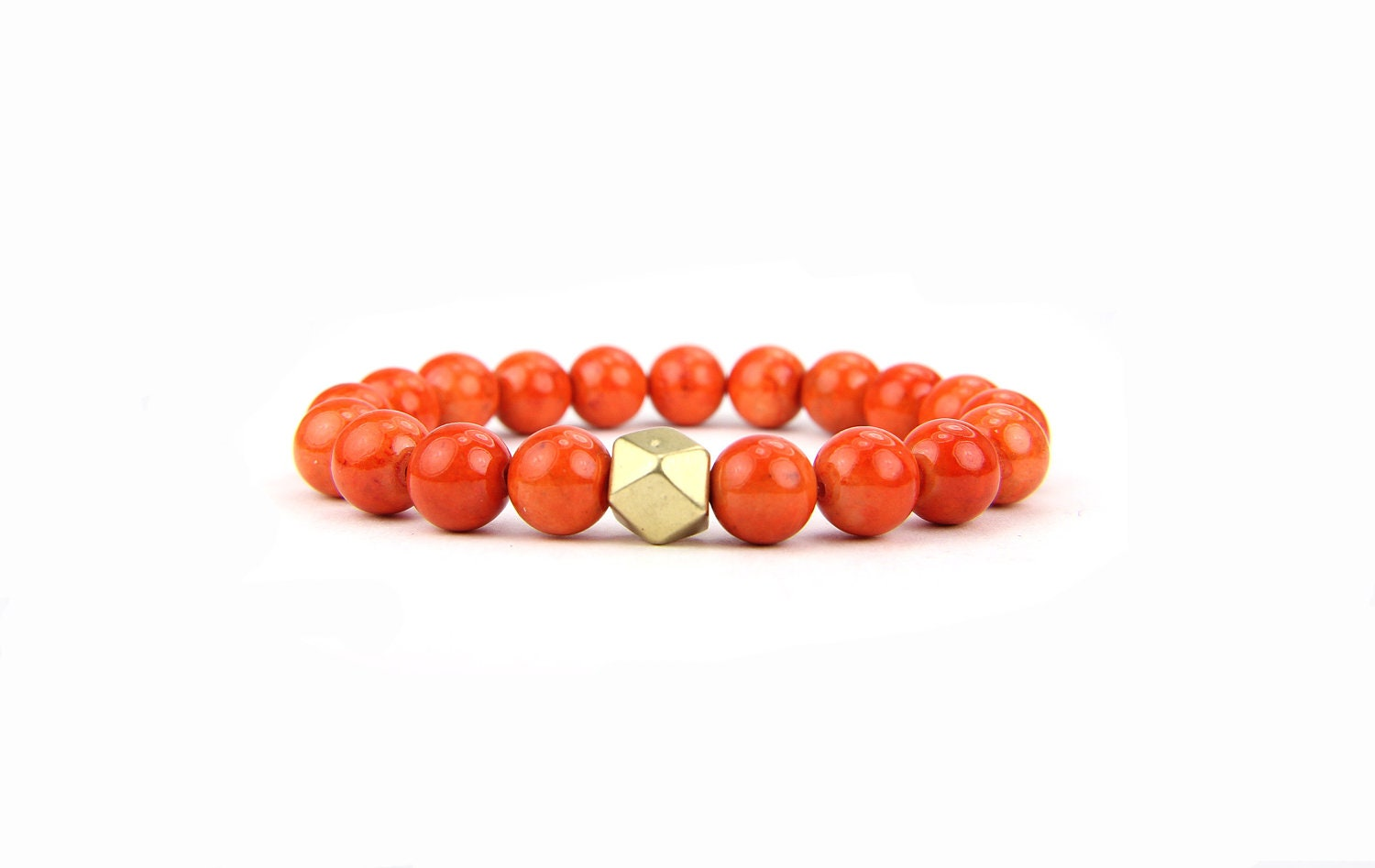 Stretch Bracelet Stacking Orange Gemstone Valentines Day Gift under 25 - Thebracelettree