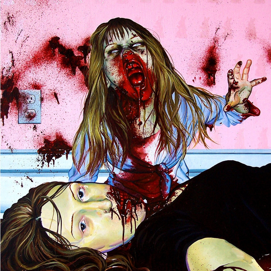 RW2 SHOWER CURTAIN Sixtinct Pink zombie fantasy art by RW2Gallery
