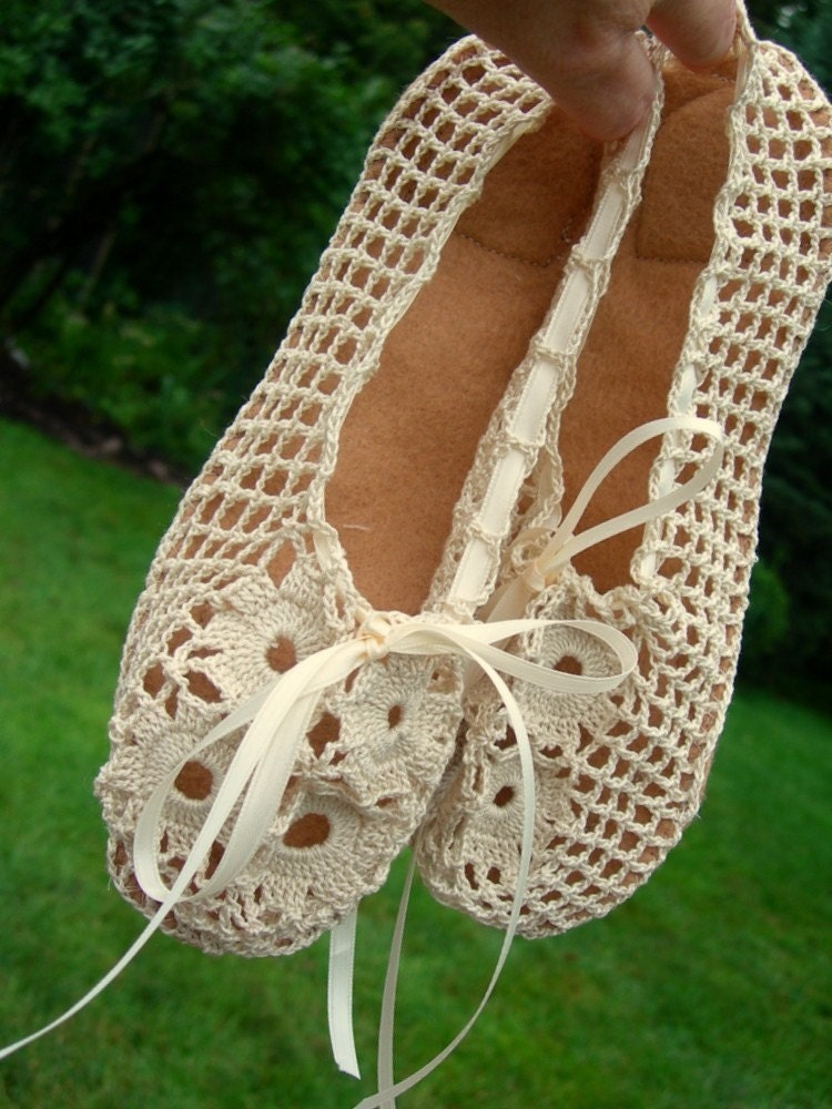 Hand Crocheted Bridal Ballet Slippers From GlorybyJeannieLee