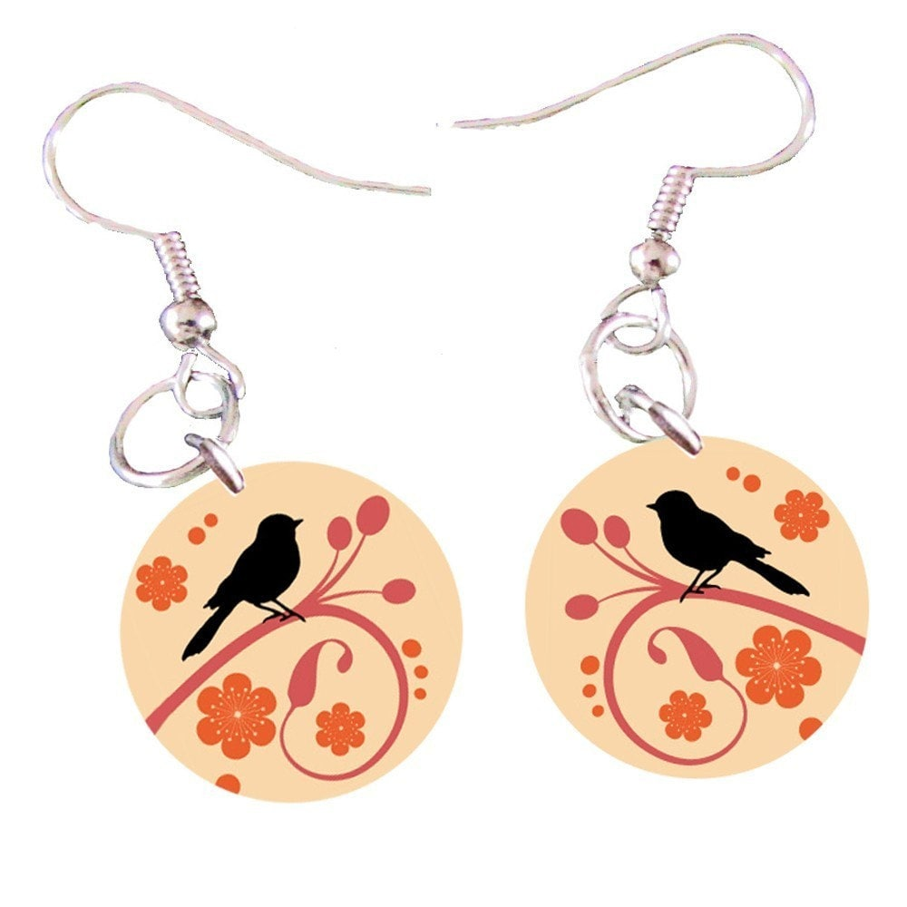 Spring Birds Dangling Button Earrings