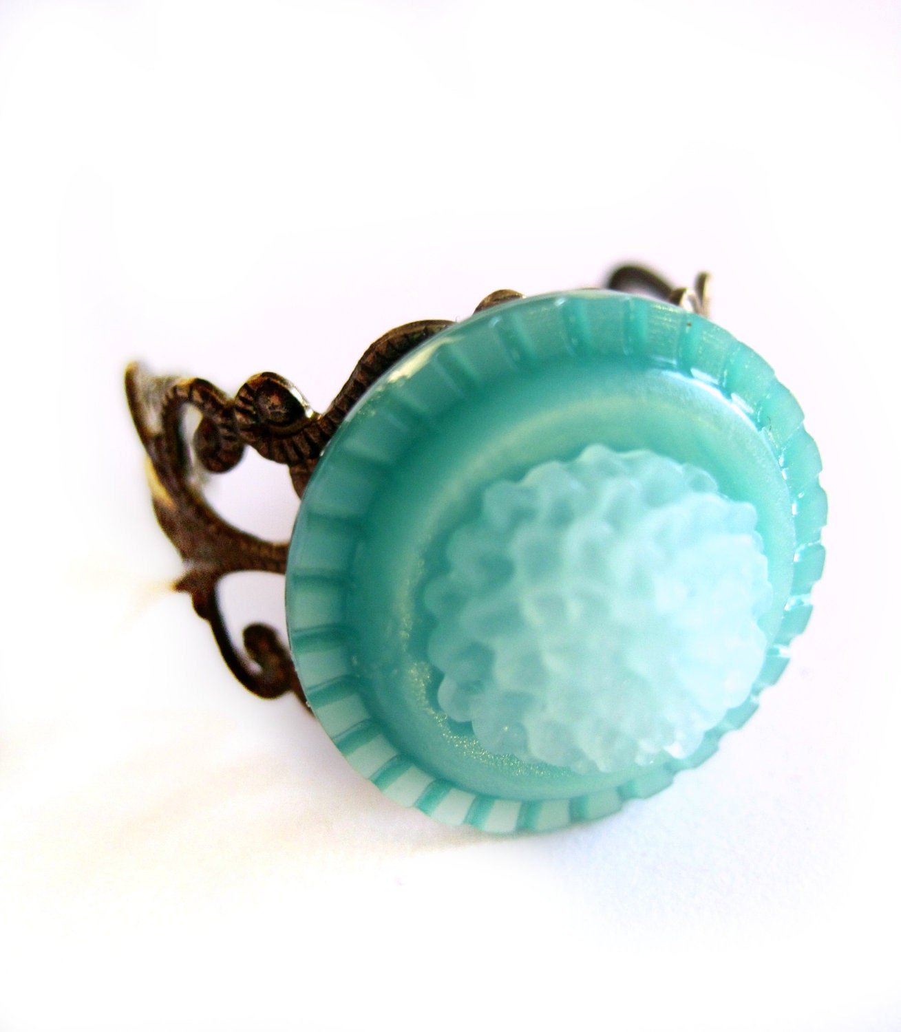 Turquoise ring - Aqua, blue, green - Vintage button ring, button jewelry, Flower ring, chrysanthemum cabochon - filigree, brass band