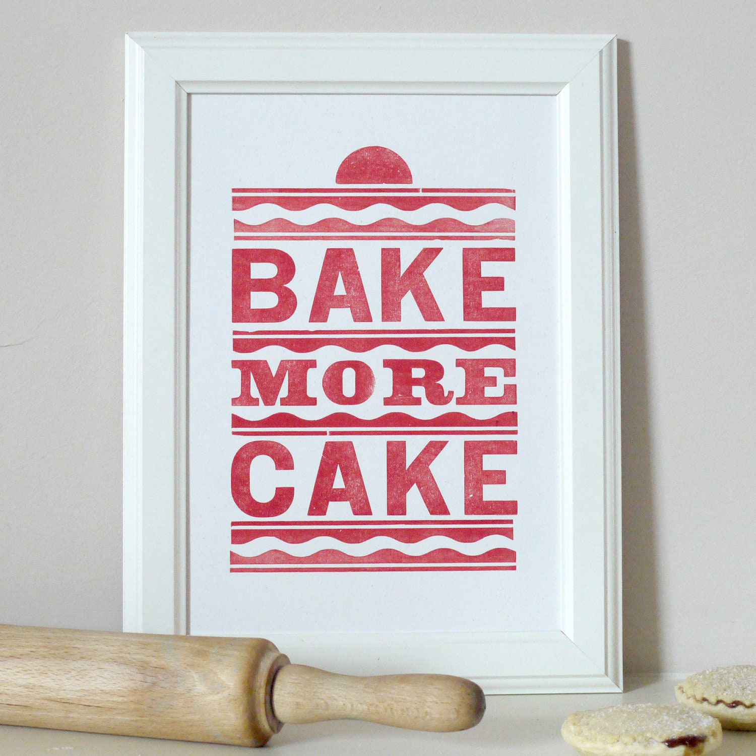 Vintage Bake More Cake Letterpress Print Red - PRINTforLOVEofWOOD