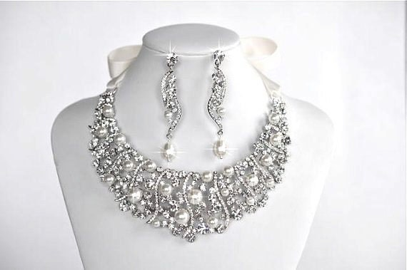 Pearl-223 Gorgeous Vintage Inspired Pearl & Crystal Rhinestone Statement Necklace Set, Bridal, Wedding