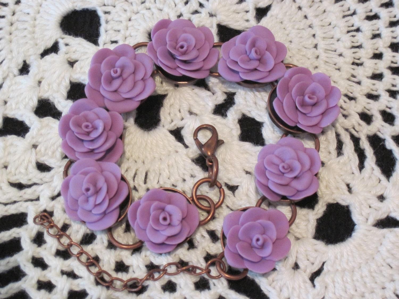 Polymer Clay Bracelet - Flower Bracelet - Floral Bracelet - Purple Bracelet - Handmade Bracelet