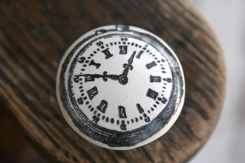 Handstamped Clock Knob