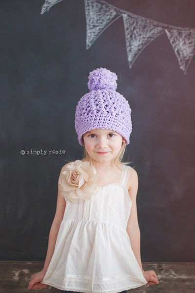 Lilac Toddler Hats, Crochet Hats for Kids, Hat with Pom Pom, Beanie for Girls, Pompom Beanie Hat, 2T to 4T, - PBlossomBoutique
