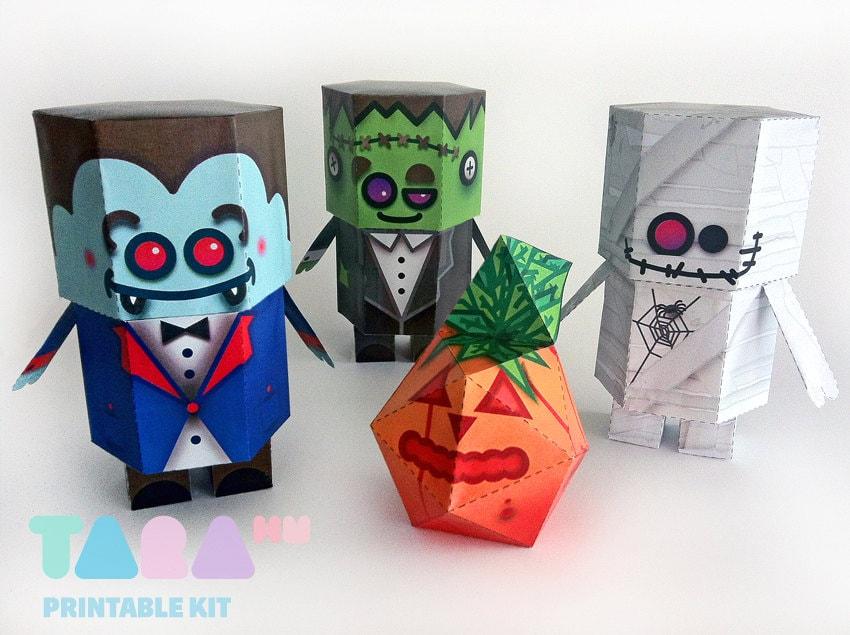 DIYHalloween Decoration, Set of 4 Printable Halloween Monsters, TaraMonsters,  DIY Paper Toy, Art Toy, Vampire, Frankenstein, Pumpkin, Mummy