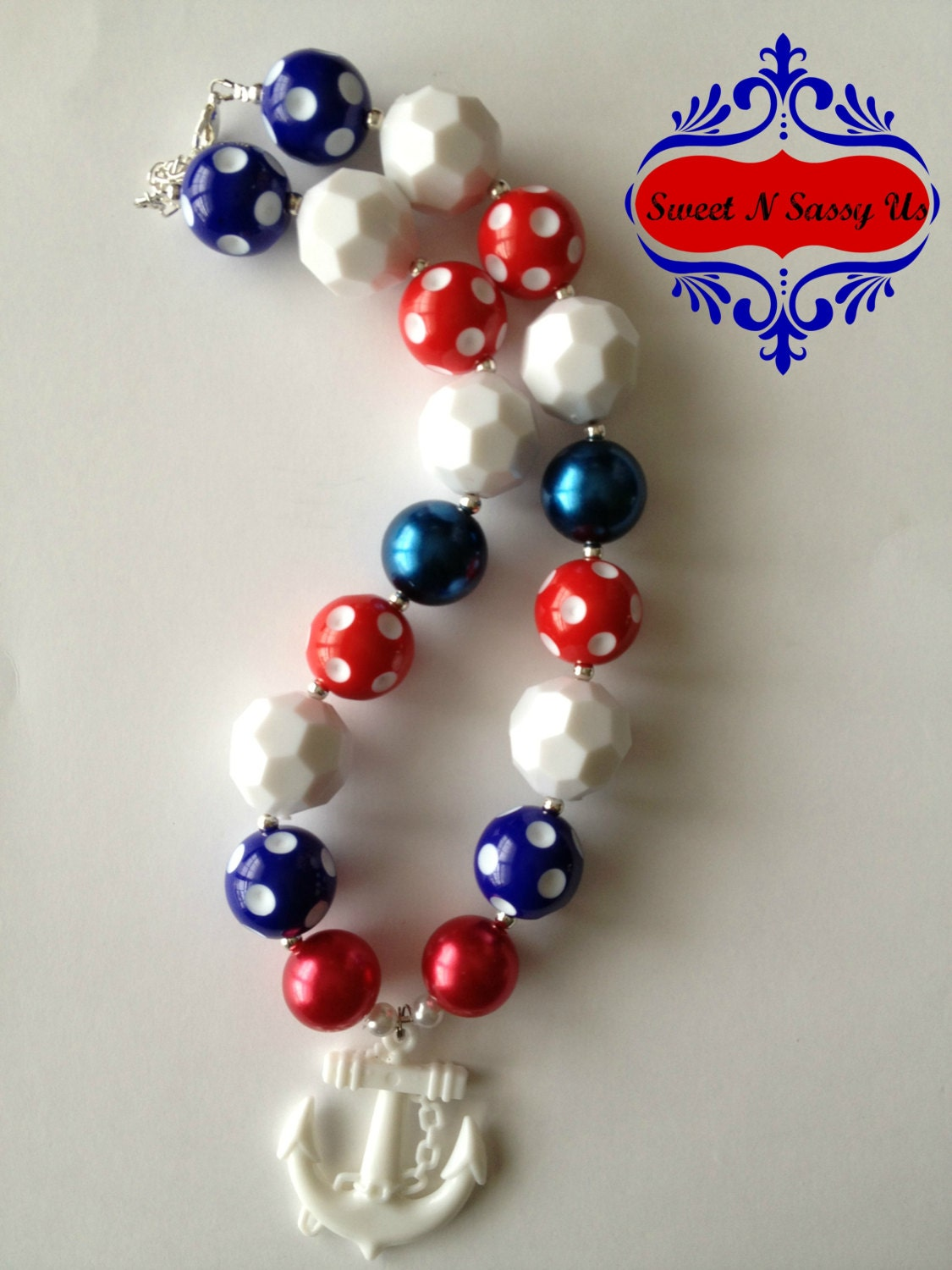 Red White and Blue Nautical Patriotic Chunky Beaded Toddler/Baby/Girl Necklace - SweetnSassyUs