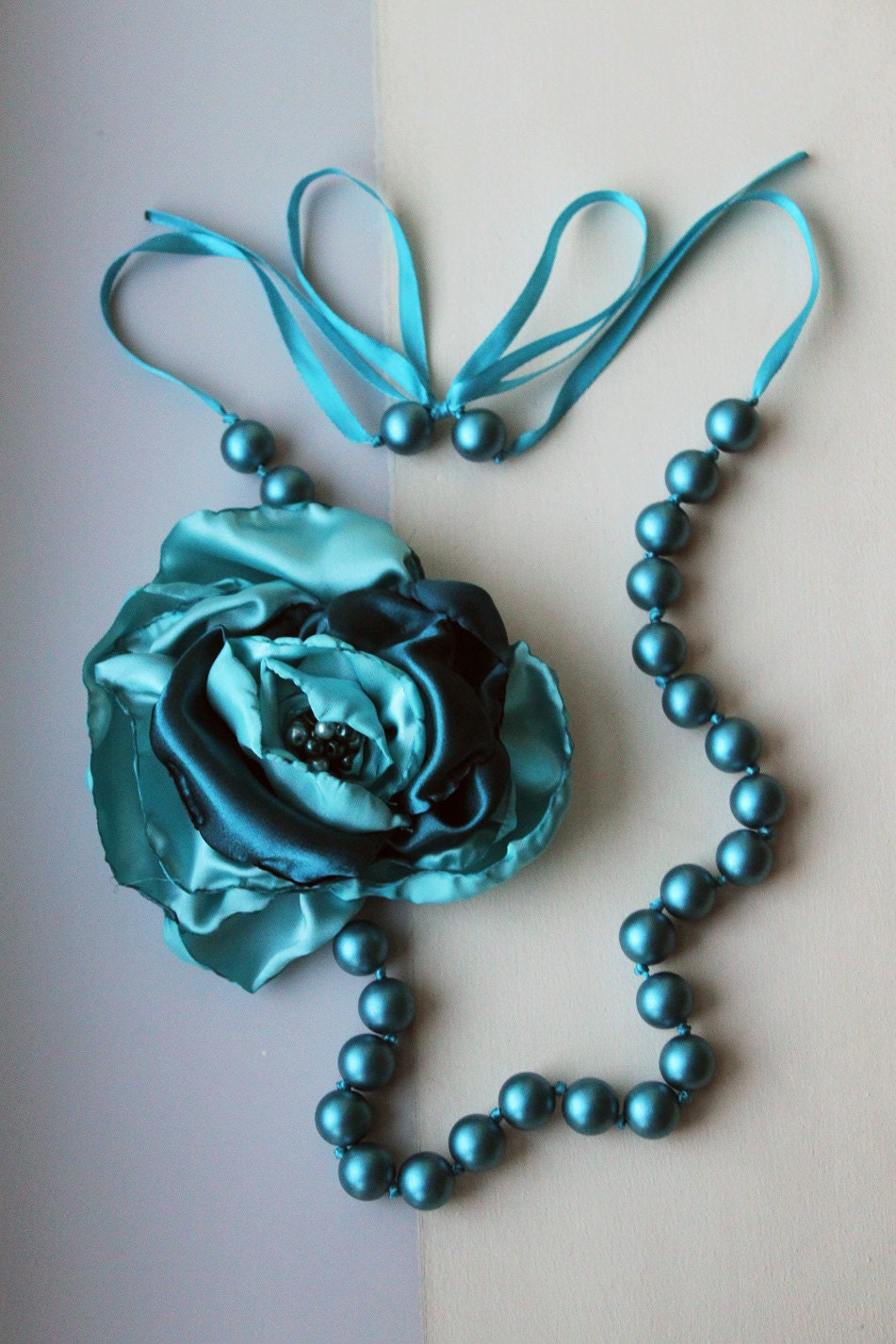 Blue Teal Wood Beads Ribbon Necklace with a Satin Blue Teal Flower - TealAndMagenta