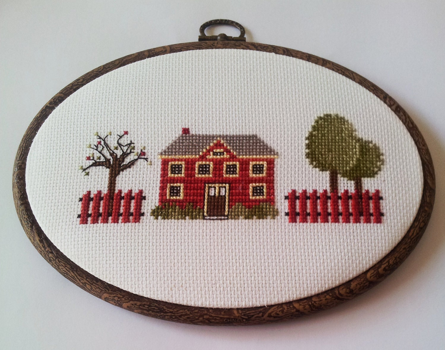 hand embroidery cross stitch in  hoop - kyonca
