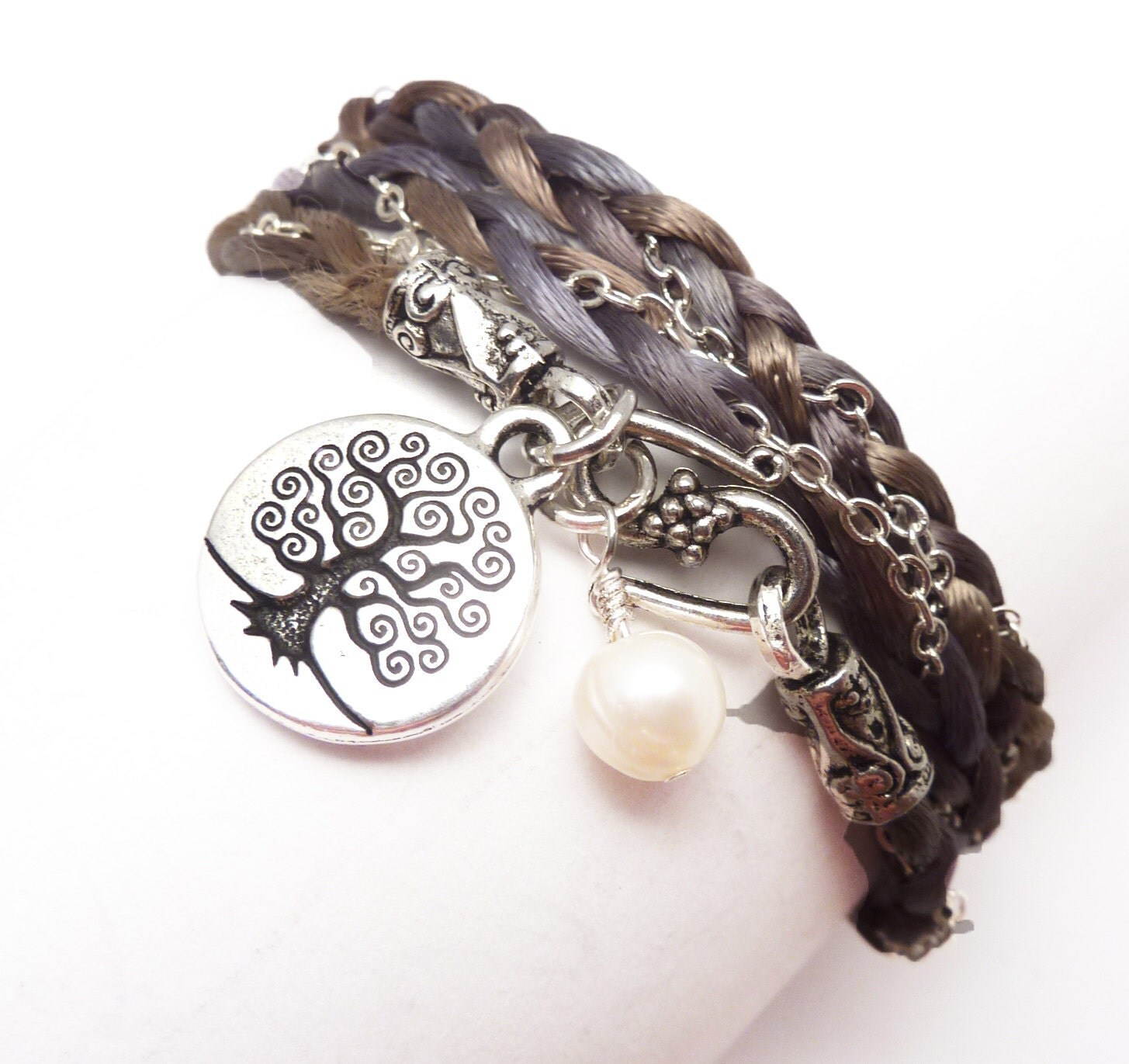 Wrap Bracelet Braided Satin and Chain with Tree of Life, Bat MItzvah jewelry,wrapped, wrapping,wrist wrap