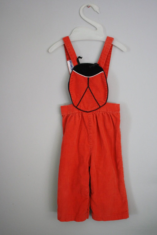 Vintage 80s Red Ladybug Overalls 12 months - babyshapes
