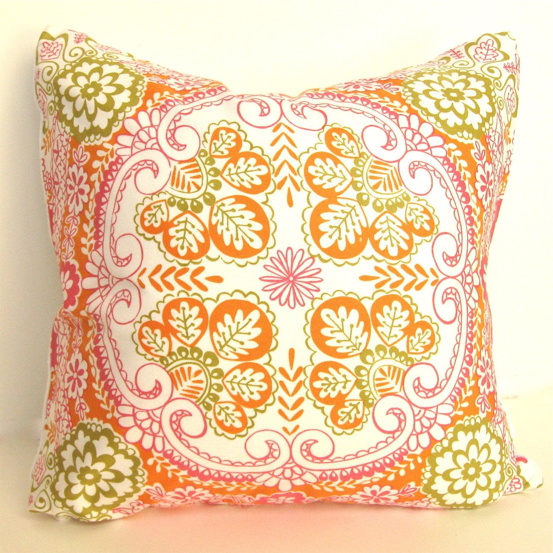 "Decorative Throw Pillow - Bohemian Garden - 16"" x 16' - Green Orange Pink - StephieBondBoutique"