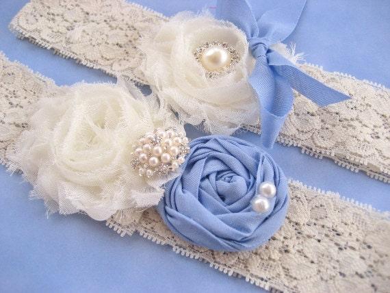 Vintage Blue Bridal Garter Set Vintage Wedding Toss Garter too Periwinkle