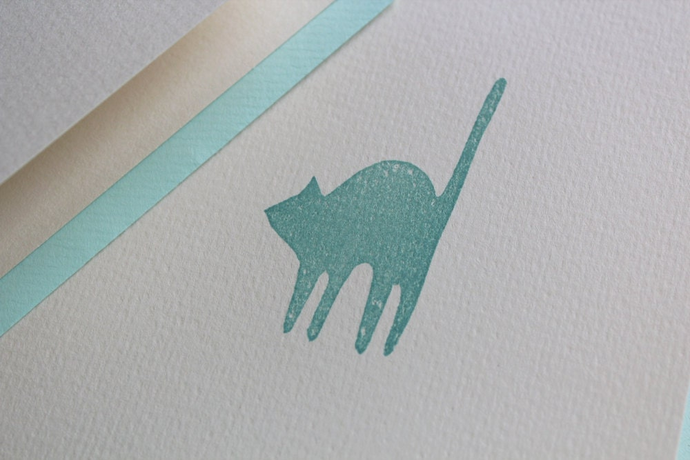Stationery Card Set -  Charming Cat in Celadon Ink - Skapligt