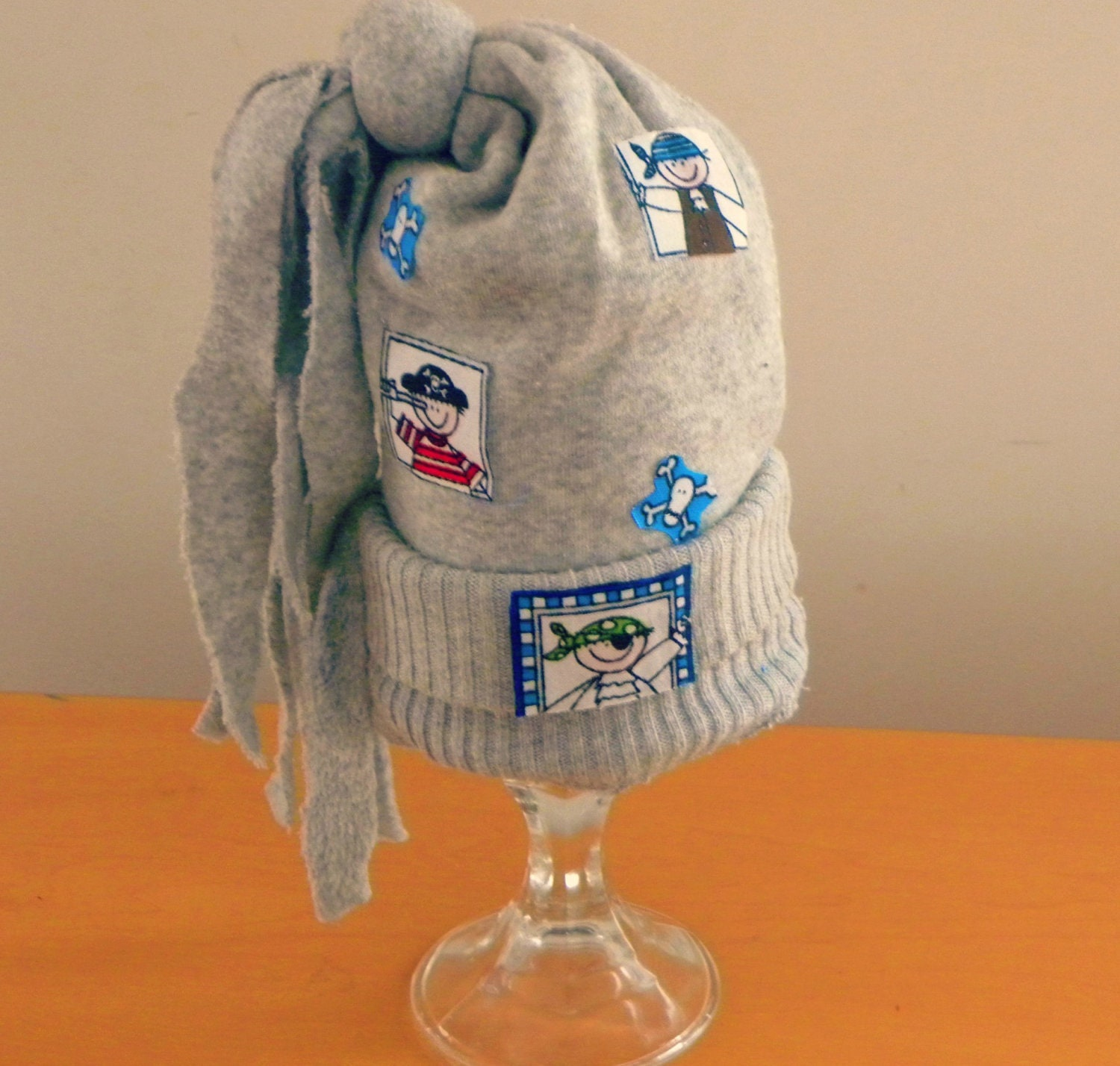 OOAK Baby Boys Grey Sweater Hat with Fringes and Pirate patch detail